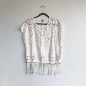 Lucky Brand White Embroidered Fringe Top